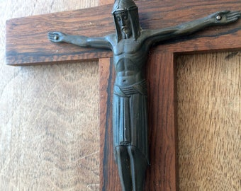 large art deco  wood JESUS CHRIST crucifix cross 1940 christian religion holy