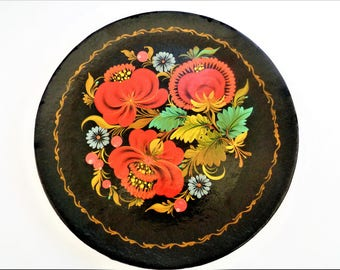 Russian Plate, Khokhloma Painted Wood Plate, Black Floral Lacquered Wood Tray, Russian Tole Folk Art, Round Wall Art