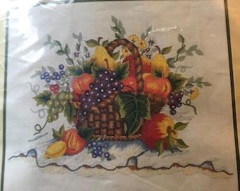 Bucilla Crewel Kit French Harvest 41572 Fall Thanksgiving Fruit Basket New Sealed HTF