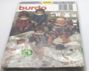 "Burda 3890 Sewing Pattern Doll Clothes S M L 12 "" - 14 ""   16 "" - 18 "" 20 "" 22 "" Doll Size New Uncut FF Sealed"