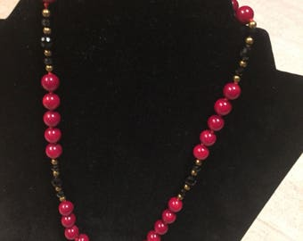 Necklace from ukraine coral and onyx