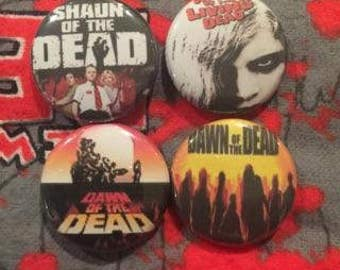 Zombie Movies Pins Set of 4