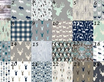 Woodland Baby Bedding-fitted crib sheet, changing pad cover, crib skirt, crib bumper, boppy cover grey navy mint arrows feathers deer rustic