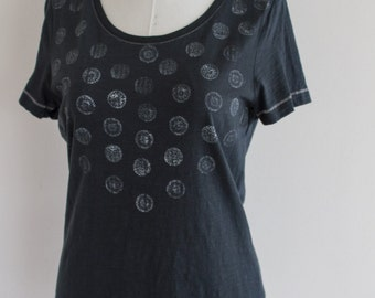 hand-dyed black t-shirt with fancy stamps mandala