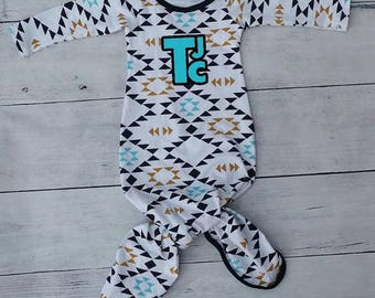 Knot Baby Gown Modern Triangles