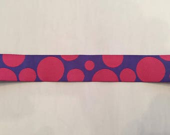 "4 Yd x 7/8"" Pink and Purple Polka Dot Woven Ribbon"