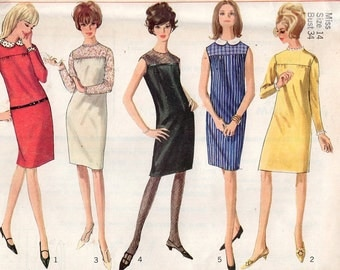 Simplicity 6270 Smock Dress Uncut Size 14 Bust 34 Detachable Collar Cuffs Uncut Easy Free Us Ship Vintage Retro 1960's 60's Sewing Pattern