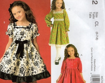 FREE US SHIP McCall's 5742  Sew Crafty Sewing Pattern Girl's High Waist Dress Size 6 7 8 Out of Print 2008 Uncut New Factory Folded