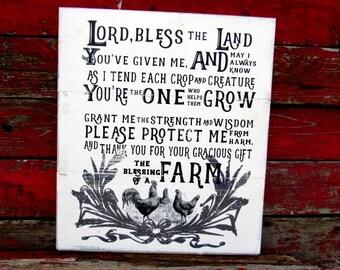 "chicken sign The blessing of a farm 18x21"" Farm Farmhouse Shiplap Chicken farmer Ranchers sign Farmer prayer Wall art Fixer Upper rooster"