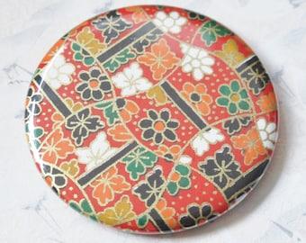 Pocket mirror cherry blossoms sakura red, 56 mm, Japanese mirror for bag, sakura, flowers Japanese, Asian mirror, compact mirror