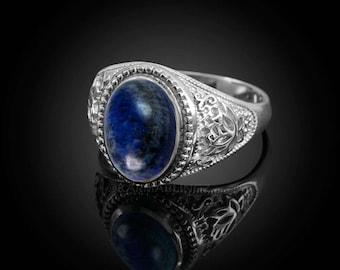 Sterling Silver Lotus Band Lapis Lazuli Oval Gemstone Yoga Statement Ring