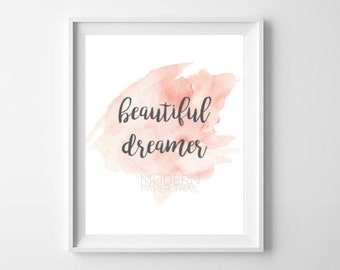 New Baby Girl Niece Nursery Pink Beautiful Dreamer Star Watercolor Print Baby shower Quote