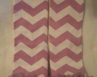 purple and white ruffle leg warmers