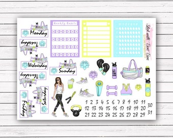 Motivation, Exercise is My Life add-on stickers || Erin Condren planner vertical layout