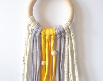 100% Natural eco-cotton dream catcher (Yellow) - Also available in Yellow & Light Grey - Eco-Friendly Baby - Home Decor - Baby Nursery