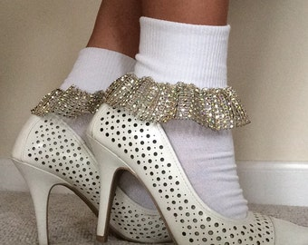 White cuff ankle socks edged with gold sparkly trim, Fun ankle socks