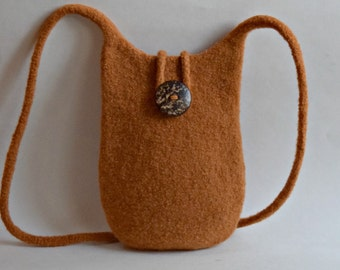 Mustard Brown Felted Wool Purse