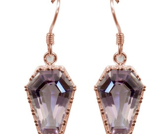 Coffin Earrings 10ct Natural Pink Amethyst Solid Gold