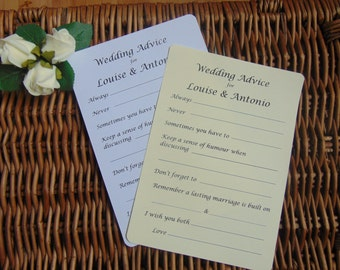 100 Wedding Advice Cards, Advice card, advice cards for the bride and groom, Wedding Day, Wedding advice cards. Bridal shower, advice card
