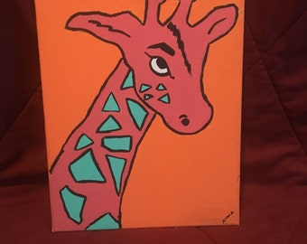 Neon Giraffe Canvas