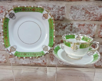 Vintage Art Deco Green Cup and Saucer side plate trio