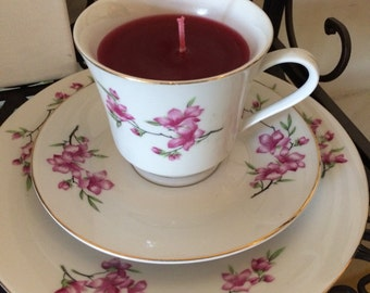 Passion Flower Scented Tea Cup Candle; Tea Cup, Saucer, Dinner Plate; Pink Flowers