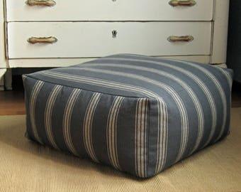Funda de almohada de planta cuadrada, 22 x 22 x 10, grano saco piso almohada otomano de PUF de cueva de hombre de azul, azul gris rayas PUF, otomano PUF cuadrados grandes