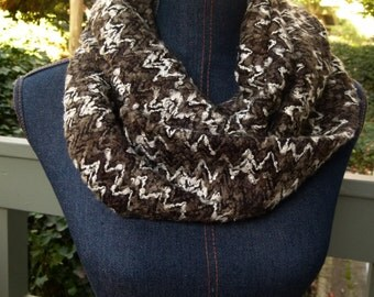 Textured Chevron Infinity Scarf in Greys & Black; Loop Scarf; Long Circle Scarf; Chevron Scarf; Scarves and Wraps