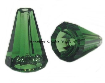 Swarovski Crystal Beads 2 Pcs 5540 DARK MOSS GREEN 12MM Artemis Faceted Bead