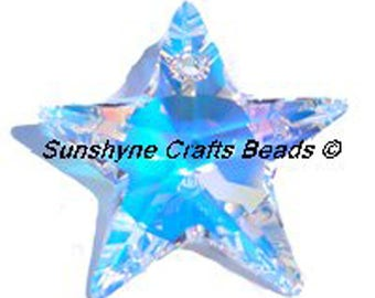 Swarovski Crystal Beads 6714 CRYSTAL AB 20MM Faceted Star Pendant 1 Pc