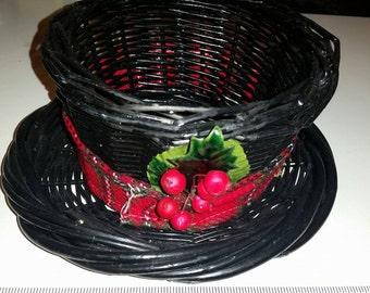 Vintage Snowman Black Hat Basket / Snowman Hat / Snowman Basket / Gift Basket / Christmas Basket / Holiday Basket / Frosty the Snowman / CIJ