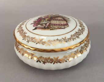 Trinket Box. Vintage Pill Box. Limoges Porcelain. Gilded Porcelain Box. Jewelry Box. Ring Dish. Ring Holder. French Country. Boite à Bijoux