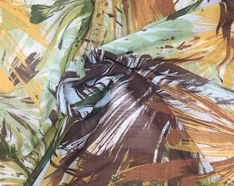 SALE! | FREE SHIPPING Printed Polyester Chiffon Georgette - Brown/Green/Yellow | Abstract Fabric By the Yard