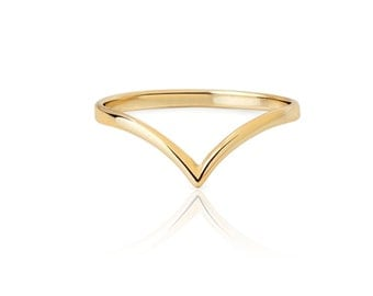 V ring - Gold ring - Simple gold ring - Minimal ring - minimal jewelry - stacking gold ring - v gold ring