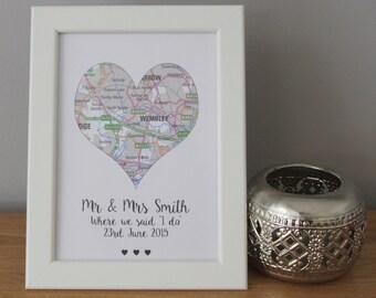 Personalised Love Heart Map Wedding Gift Couples Memory Keepsake Say I do
