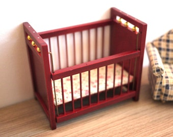 Dollhouse baby crib dolls house infant bed mattress 1 12th scale miniature
