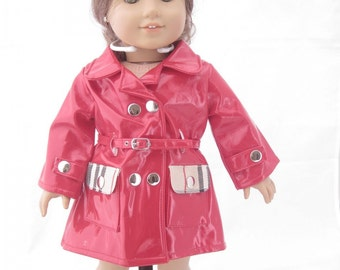Red Designer Rain Coat and Matching Boots for American Girl Dolls and Most 18 Inch Dolls
