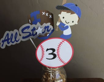 Baseball Centerpiece/ Baseball Birthday Theme/Set of 4