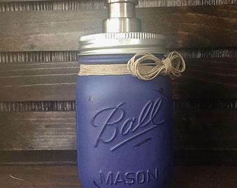 Navy Painted Mason Jar Soap Dispenser - House Warming Gift - Wedding Shower Gift - Soap Dispenser -