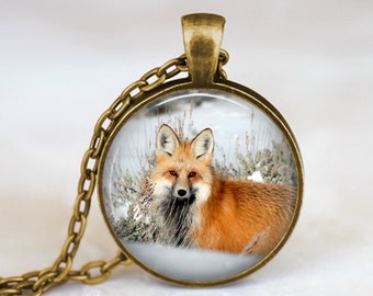 Laying Fox in Snow - Nature Animal Handmade Pendant Necklace