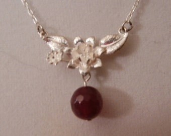 SALE -  Matt silver Flower pendant and natural rose red Agate gemstone necklace
