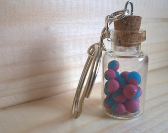 Retro Sweets in Jar Key-Chain with Bubble Gum Candy