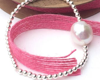 Silver Stretch Bracelet with Large Freshwater Pearl, Handmade