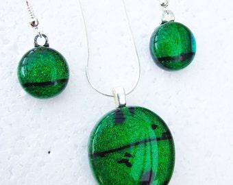 Tourmaline - Beautiful fused glass pendant & earring set