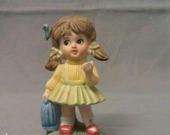 Girl Figurine with Blue Bird in Hair Girl Figurine