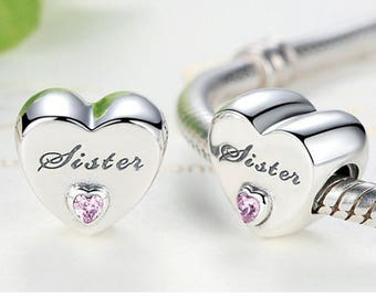 Sterling 925 silver charm sisters love bead pendant fits Pandora charm and European charm bracelet
