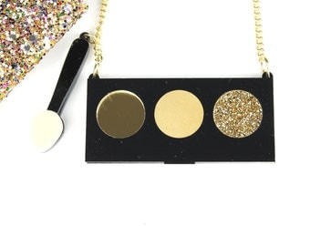 Eye Shadows Pallete and  brush necklace  - laser cut necklace - gold eyeshadow - gold necklace - glitter necklace