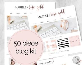 50 Piece Web / Blog Kit / Branding Kit / Blogger Kit / Social Buttons / Homepage Tabs / Rose Gold / Marble / Blog Design Kit / Blog Graphics