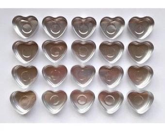 20 Heart Shaped Tea-light Candle Foils, Candle Making