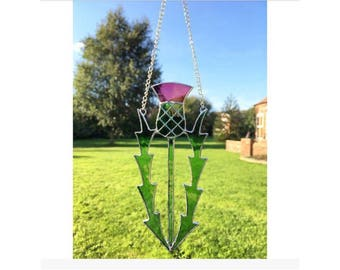 Stained Glass Scottish Thistle Suncatcher decoration